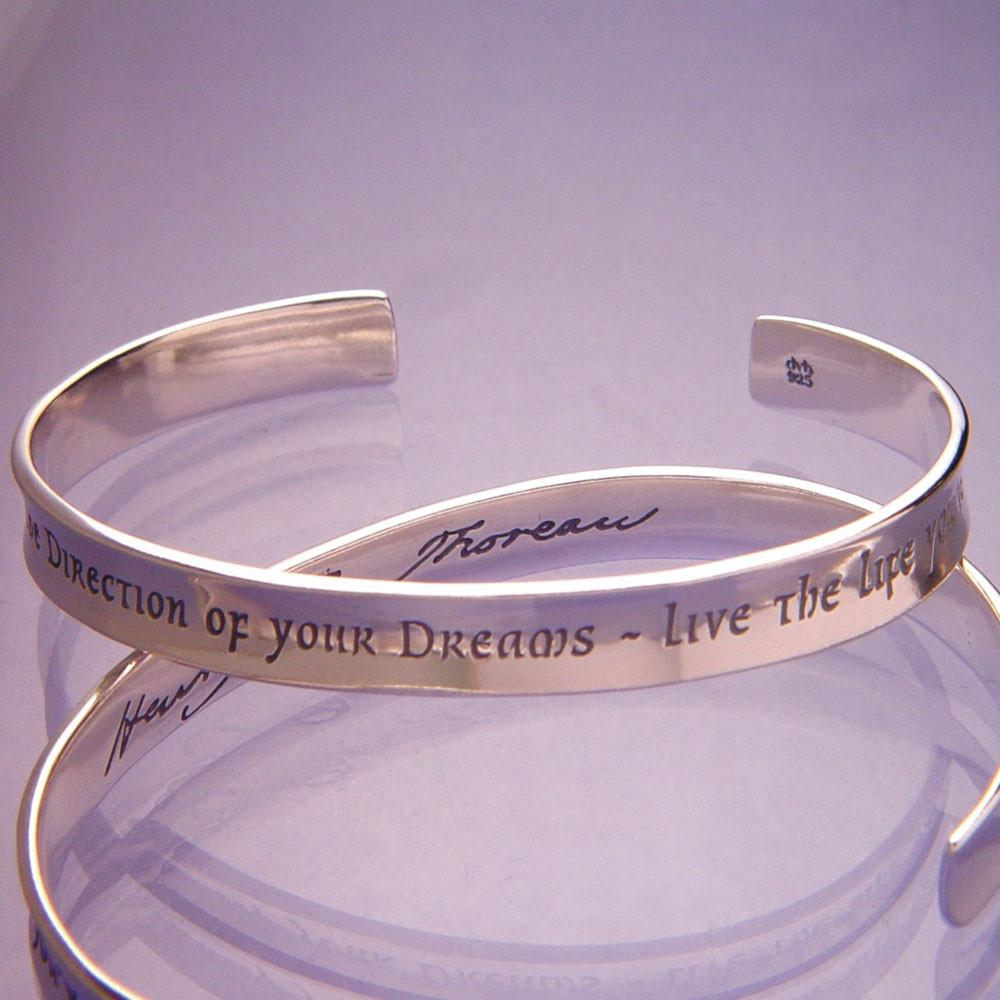 Go Confidently in the Direction of Your Dreams Sterling Silver Cuff Bracelet
