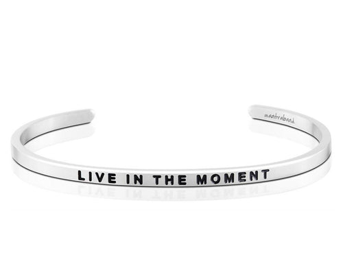 Live In The Moment Mantraband Cuff Bracelet