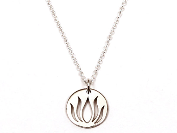 Sterling Silver Round Lotus Necklace