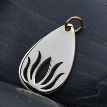 Load image into Gallery viewer, Sterling Silver Teardrop Lotus Charm