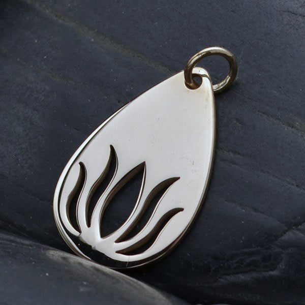 Sterling Silver Teardrop Lotus Charm