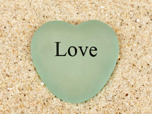Love Engraved Sea Glass Heart
