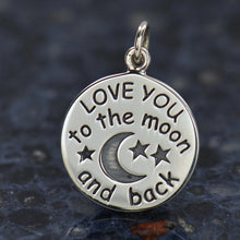 Load image into Gallery viewer, Sterling Silver Love You To The Moon And Back Charm