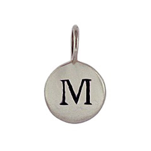 Sterling Silver M Initial Disk Charm