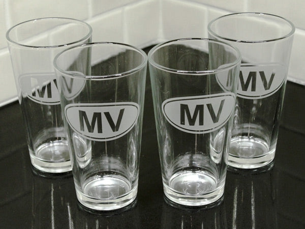 Martha's Vineyard Euro Etched Beer Glass Set of 4