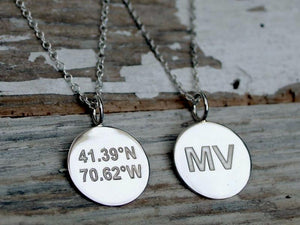Martha's Vineyard Coordinates Sterling Silver Necklace