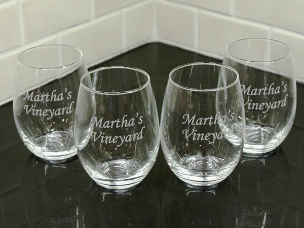 Martha's Vineyard Etched Stemless Wine Glass Set of 4