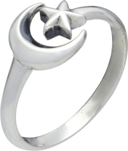 Sterling Silver Adjustable Moon and Star Ring