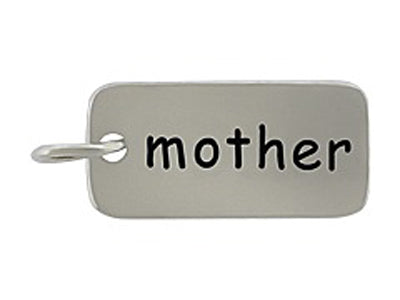 Sterling Silver Mother Word Tag Charm