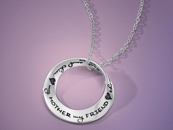 My Mother, My Friend Sterling Silver Mobius Necklace