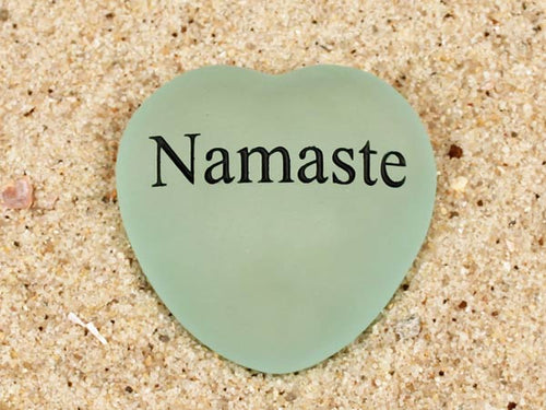 Namaste Engraved Sea Glass Heart