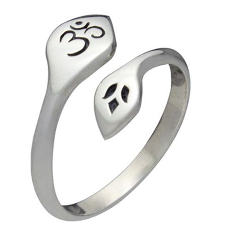 Sterling Silver Adjustable Lotus and Om Ring