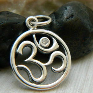 Sterling Silver Om Symbol Charm with Genuine 1 Pt. Diamond