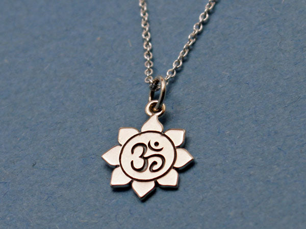 Sterling Silver Small Om Lotus Necklace