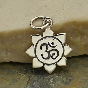 Sterling Silver Small Om Lotus Charm