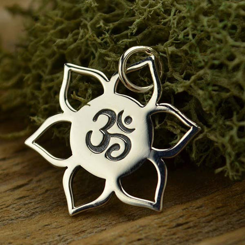 Sterling Silver Om Lotus Charm