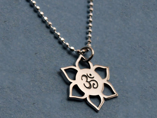 Sterling Silver Om Lotus Necklace