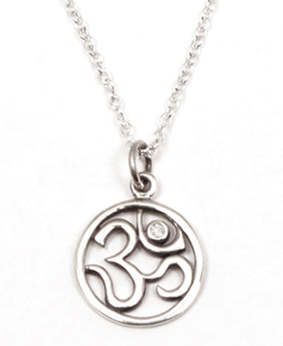 Sterling Silver Diamond Om Necklace