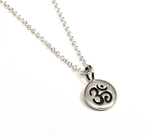 Sterling Silver Om Disc Necklace