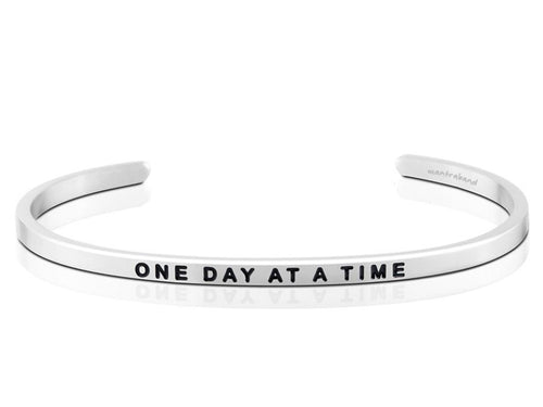 One Day At A Time Mantraband Cuff Bracelet