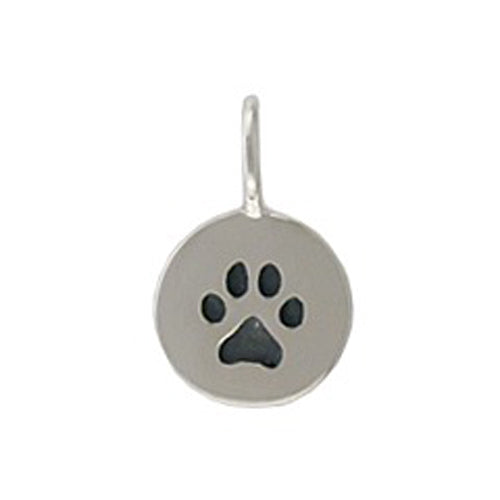 Sterling Silver Paw Disk Charm