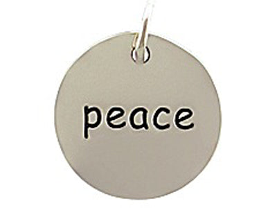 Sterling Silver Peace Round Word Charm