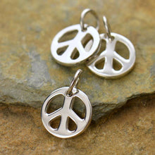 Load image into Gallery viewer, Sterling Silver Tiny Peace Symbol Charm