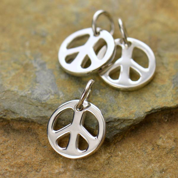 Sterling Silver Tiny Peace Symbol Charm