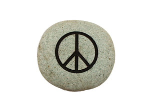 Peace Symbol Small Carved Beach Stone