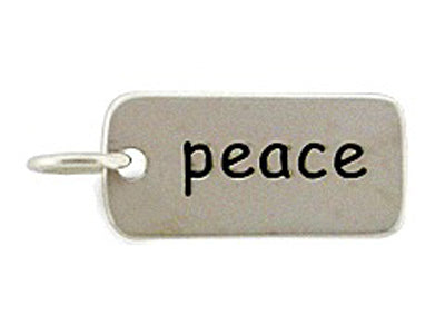 Sterling Silver Peace Word Tag Charm