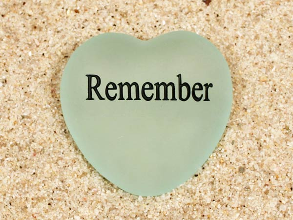 Remember Engraved Sea Glass Heart
