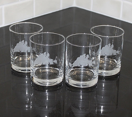 Martha's Vineyard Etched Rocks Glass Set of 4