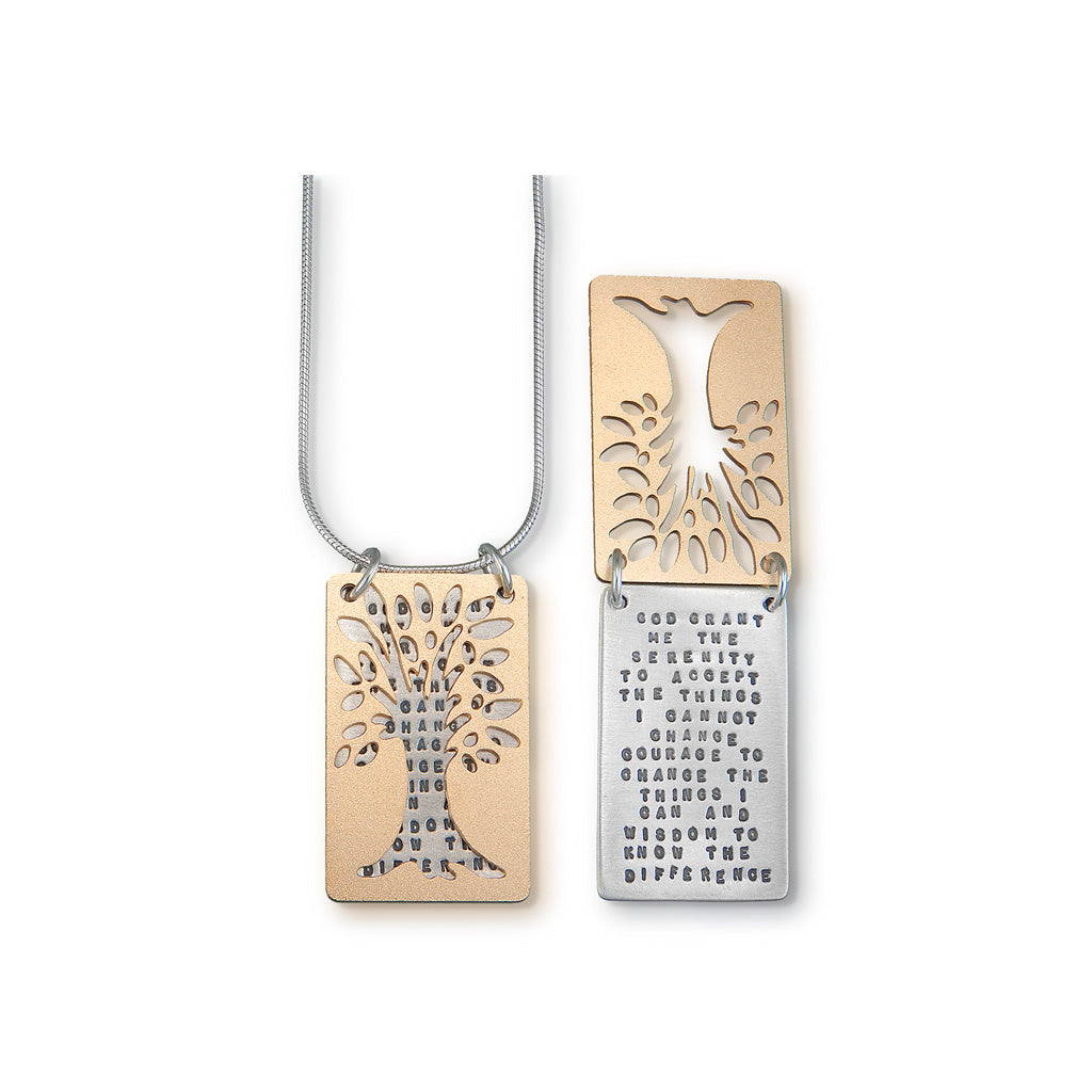Serenity Prayer Necklace with Tree