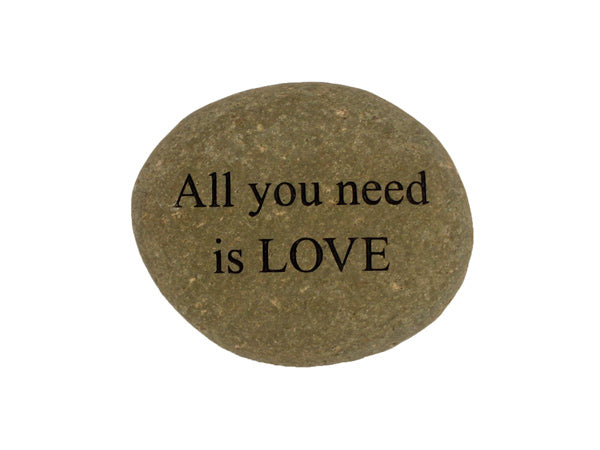 All You Need Is Love Small Carved Beach Stone