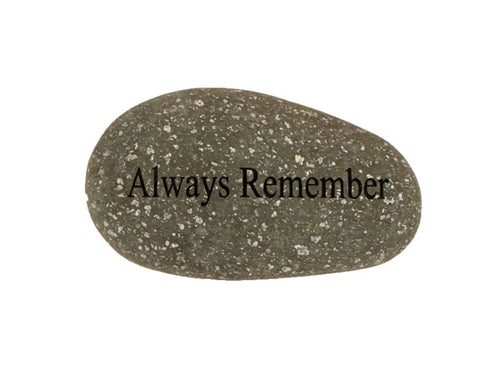 Always Remember Small Carved Beach Stone