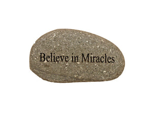 Believe in Miracles Small Carved Beach Stone