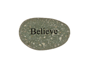 Believe Small Carved Beach Stone