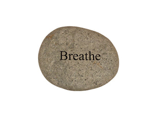 Breathe Small Carved Beach Stone