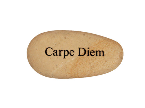 Carpe Diem Small Carved Beach Stone