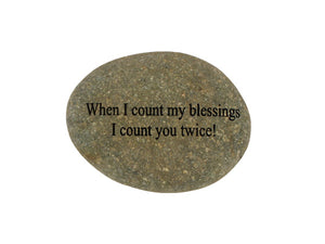 When I Count My Blessings Small Carved Beach Stone