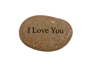 I Love You Small Carved Beach Stone