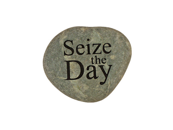 Seize The Day Small Carved Beach Stone