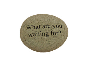 What Are You Waiting For? Small Carved Beach Stone