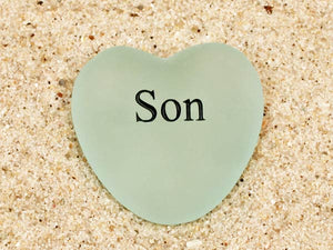 Son Engraved Sea Glass Heart