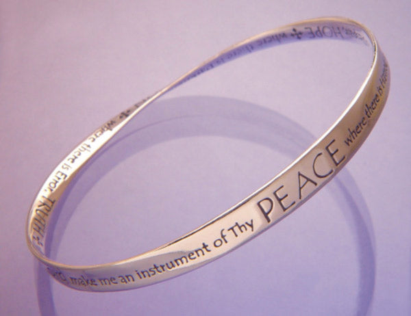 Sterling Silver Prayer of Saint Francis Mobius Bracelet