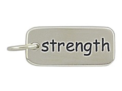 Sterling Silver Strength Word Tag Charm