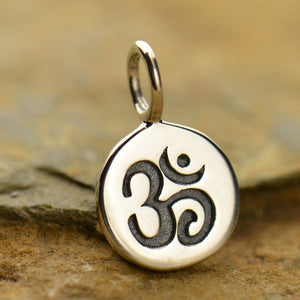 Sterling Silver Tiny Om Disk Charm