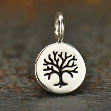Load image into Gallery viewer, Sterling Silver Tiny Tree Disk Charm