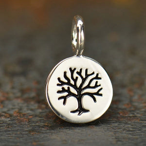 Sterling Silver Tiny Tree Disk Charm