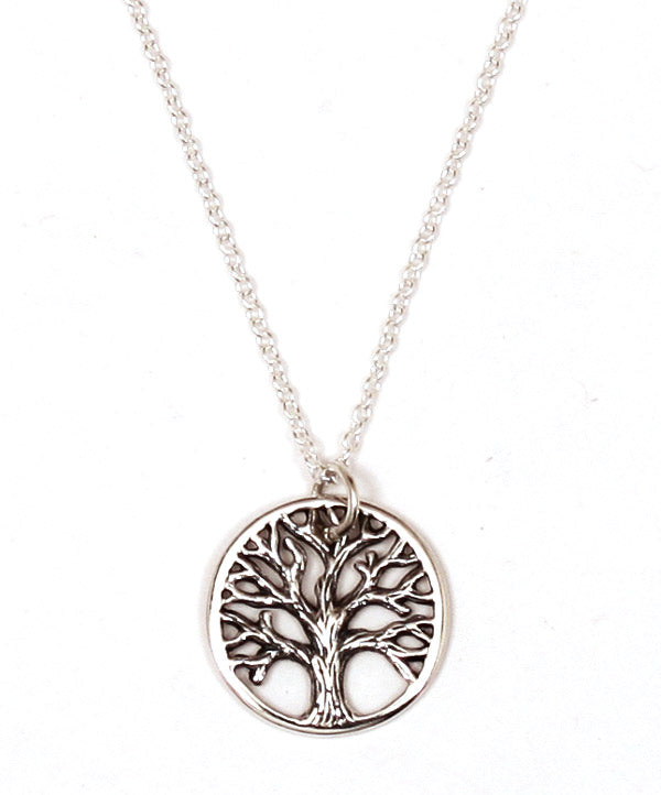 Sterling Silver Textured Tree of Life Necklace